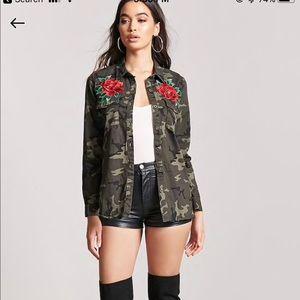 Camo jacket/shirt with decorative roses